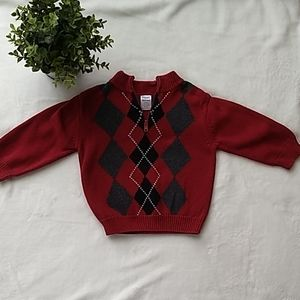 Gymboree red argyle quarter zip sweater